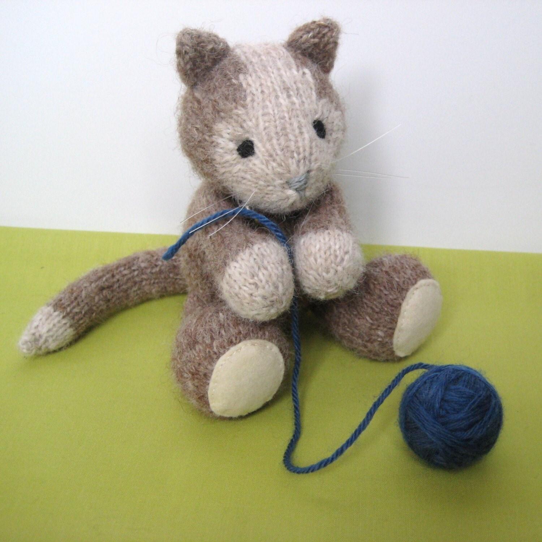 Cavendish Cat and Basket of Wool Knitting Pattern by fluffandfuzz
