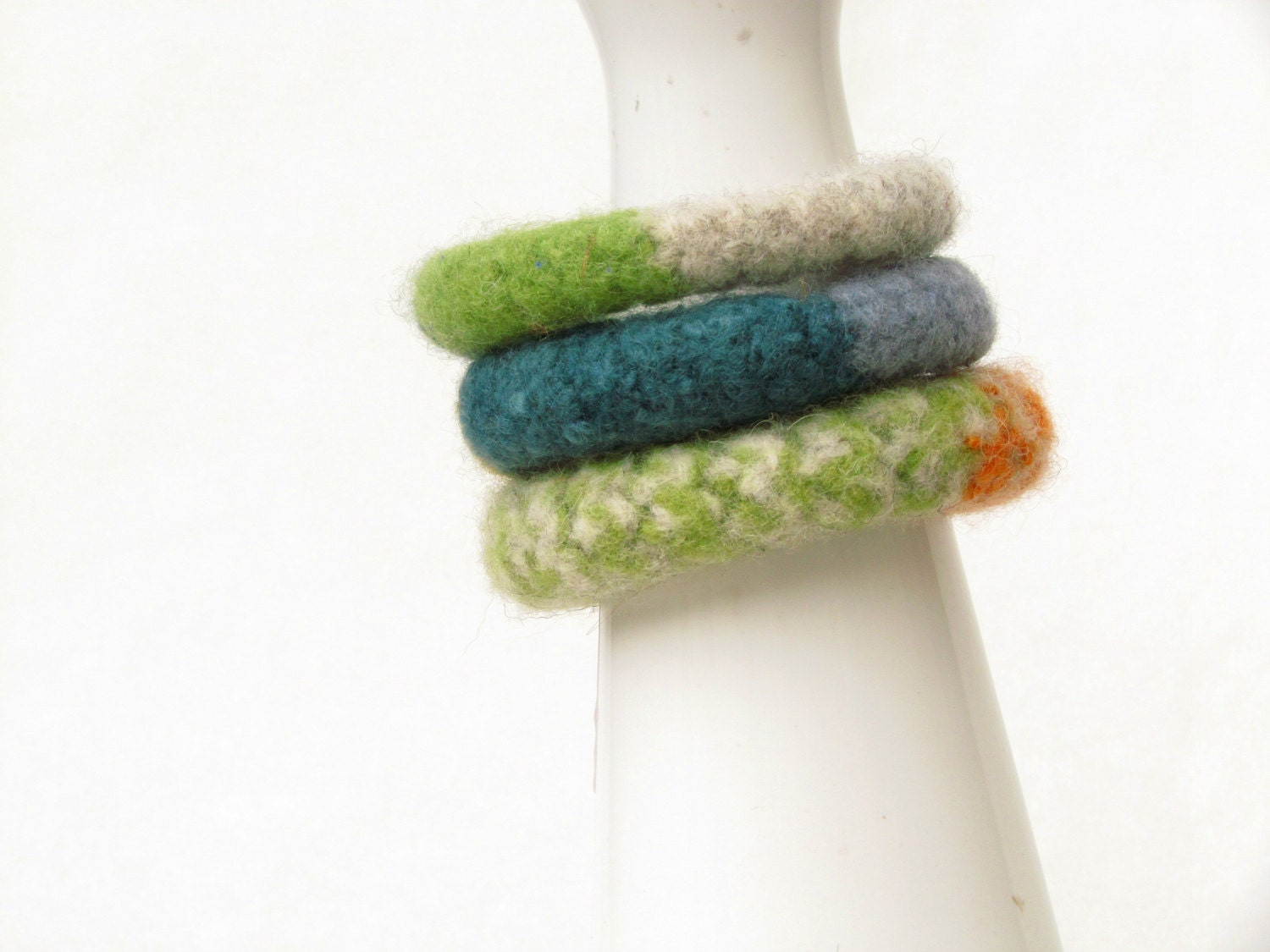Stacking felt bangles - Set of three - green grey teal orange - eco-friendly - mother day gift - felt wool - soft jewelry