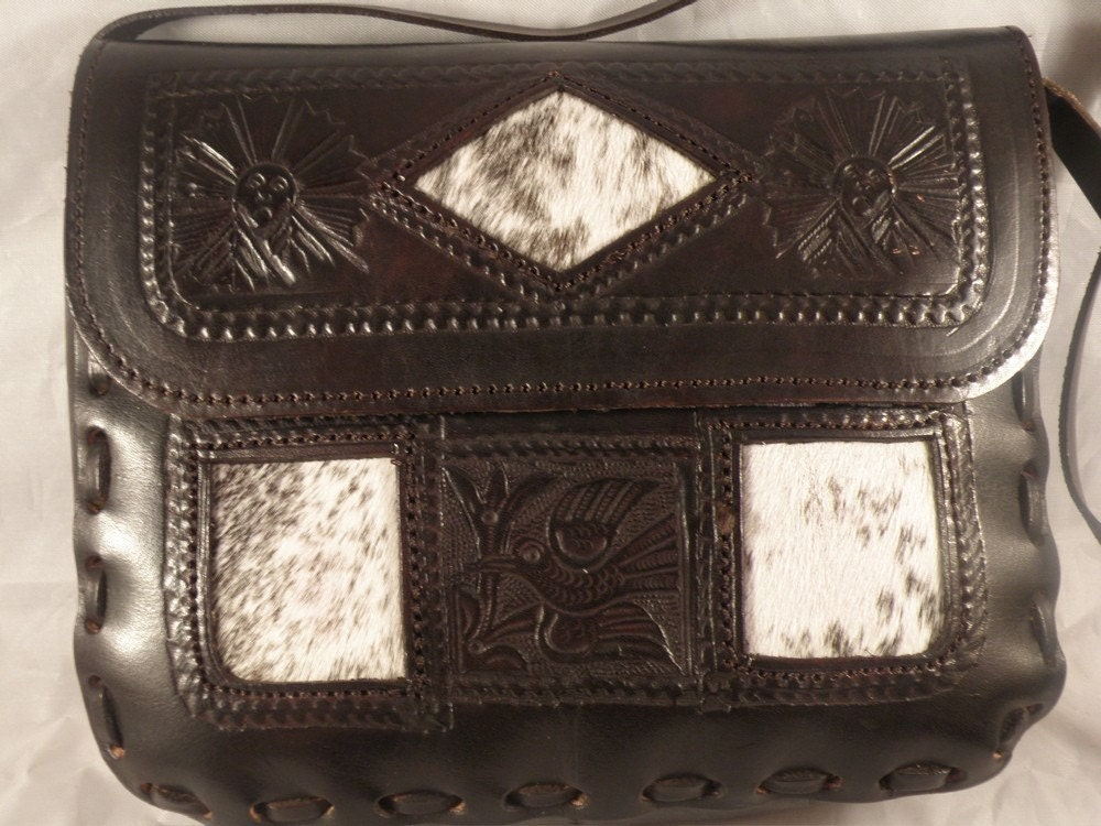 Embossed Leather and Pony Skin Purse