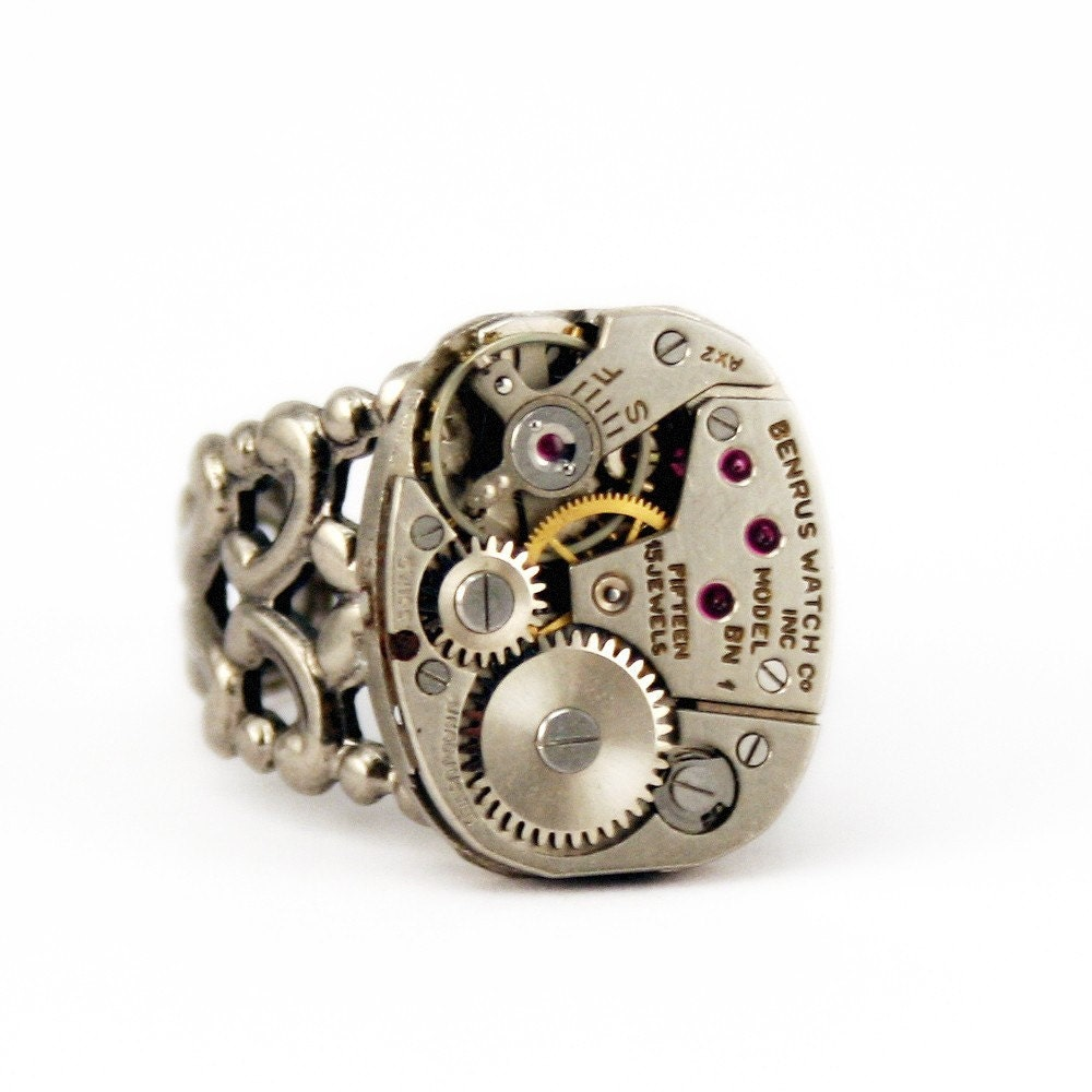 The Quintessential Steampunk Watch Movement Ring --- Artfully presented in a Drawstring Pouch - Securely Packaged and PROMPTLY SHIPPED