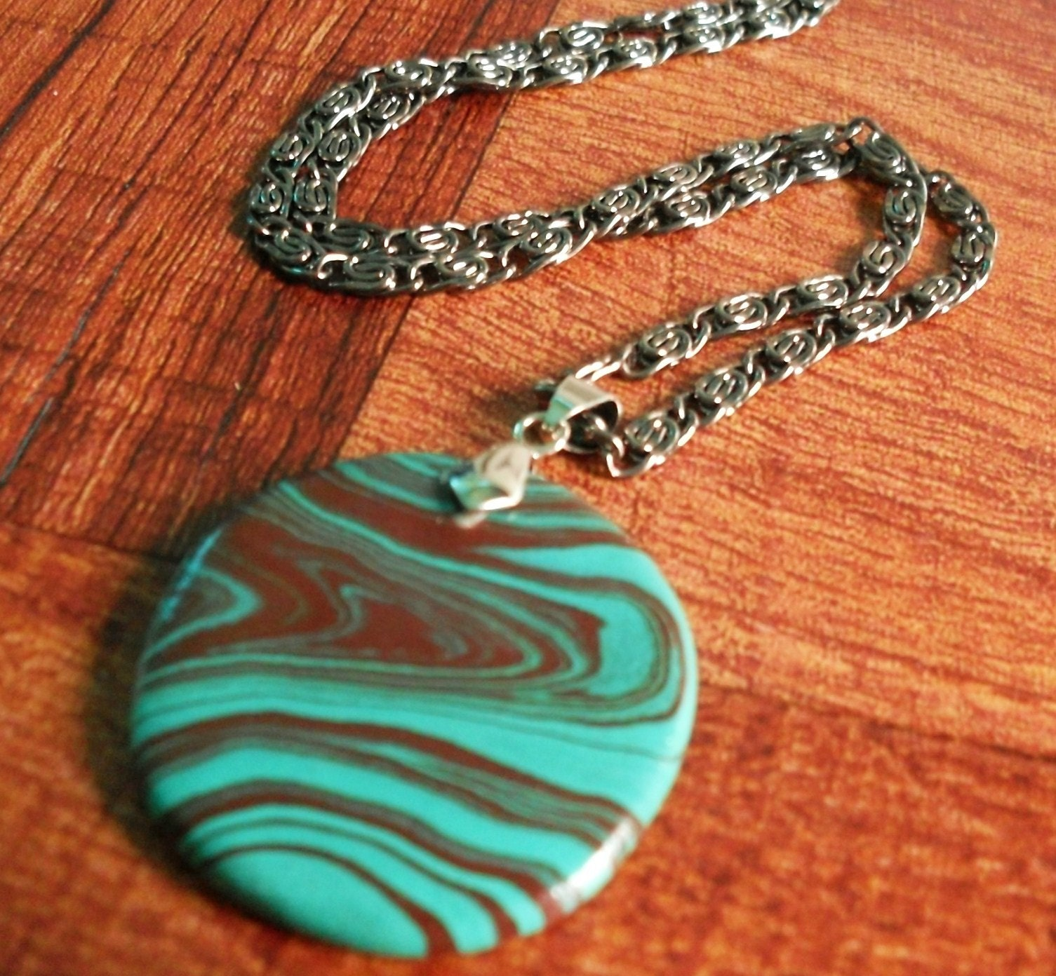 Turquoise Woodgrain Pendant