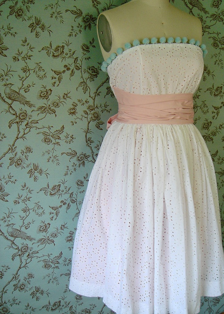 Cotton Candy Eyelet Sash Dress