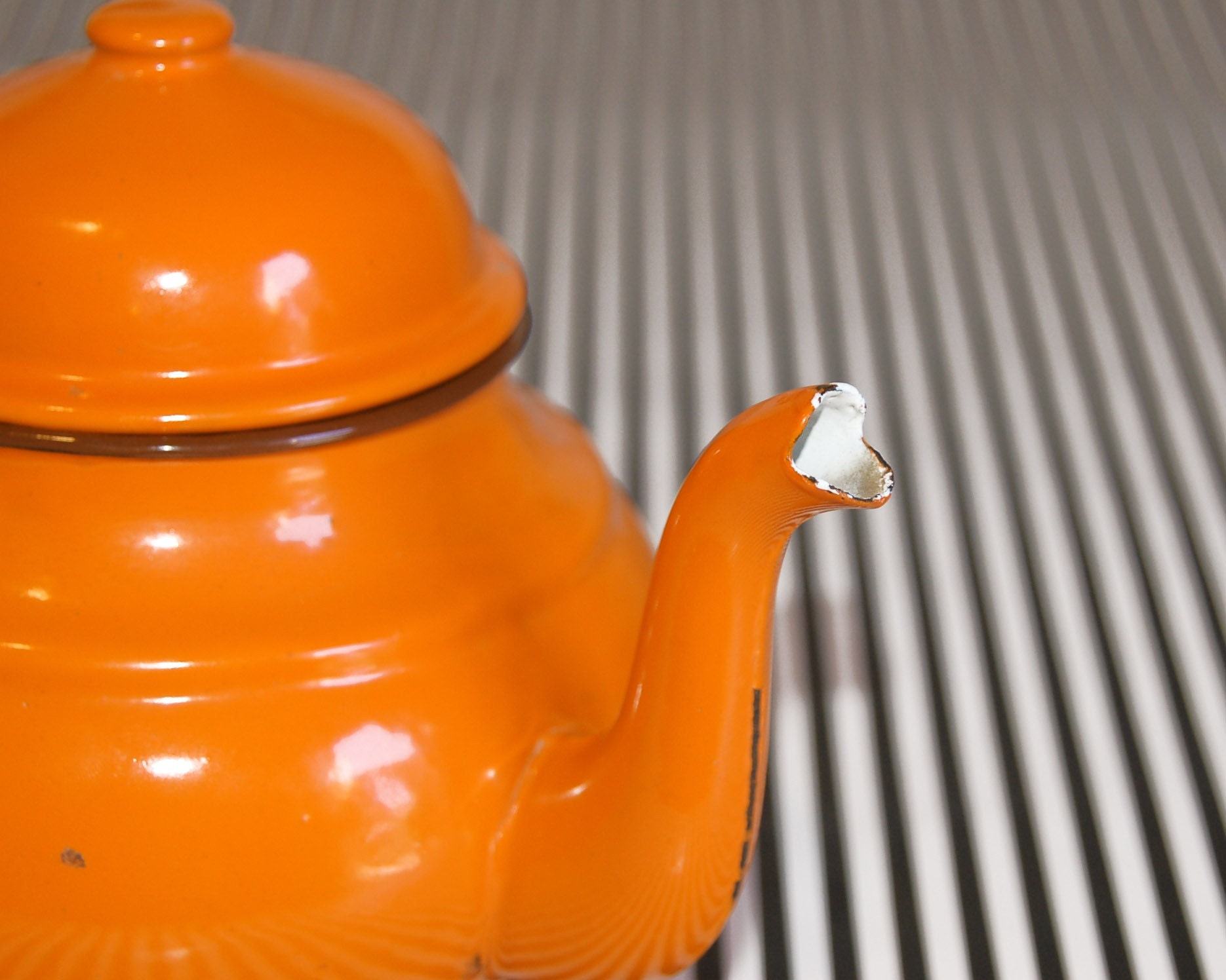 Vintage PUMPKIN enamel teapot and kettle