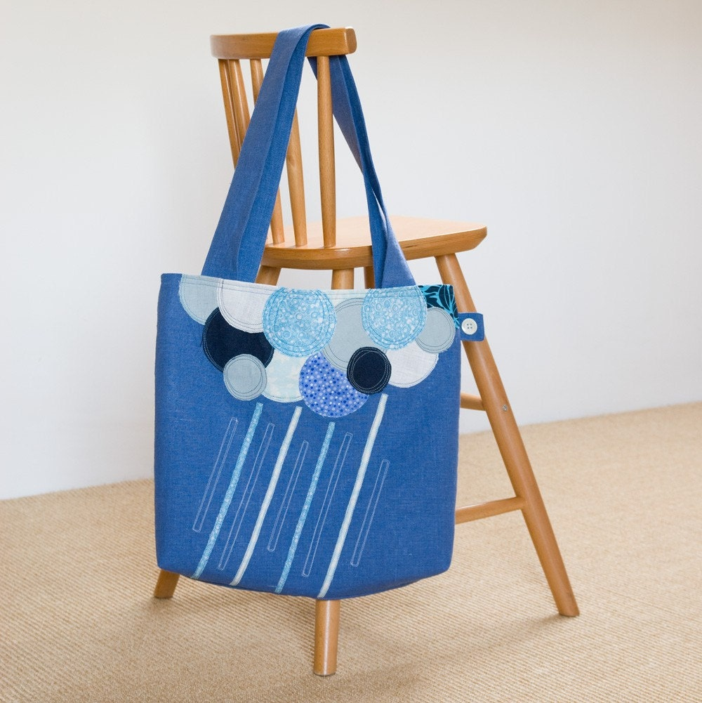 Rainy Cloud Blue Linen Tote Bag - by RaspberryFairy @Etsy