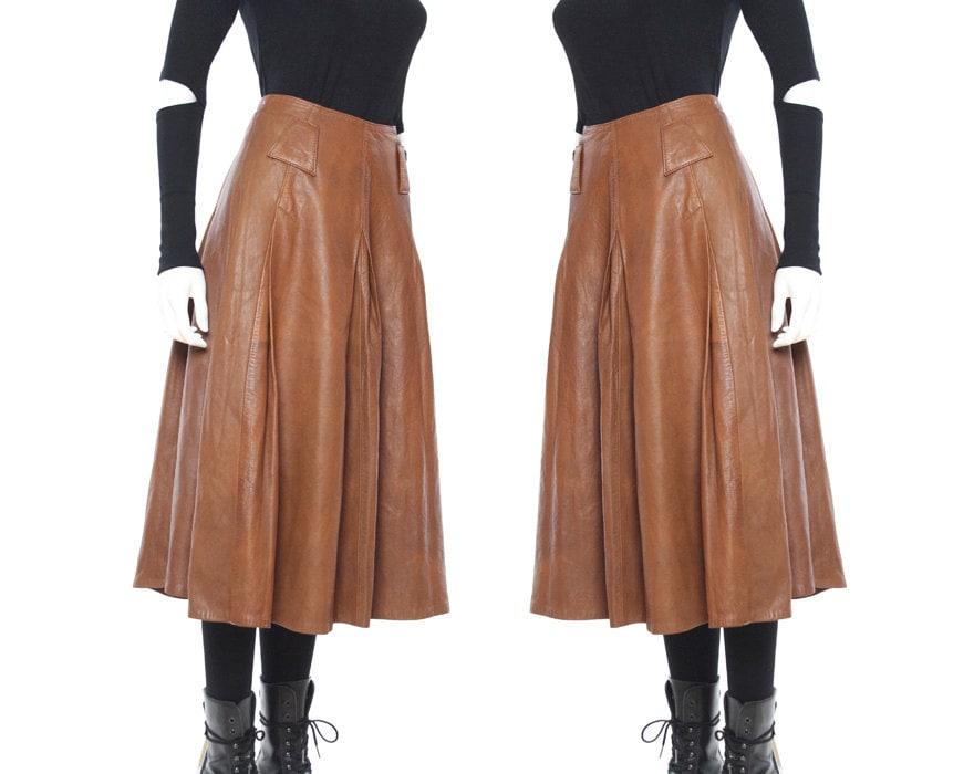 vtg 80s cognac lambskin leather flowy knee length by