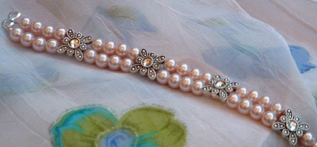 pink pearl  2 stranded bracelet