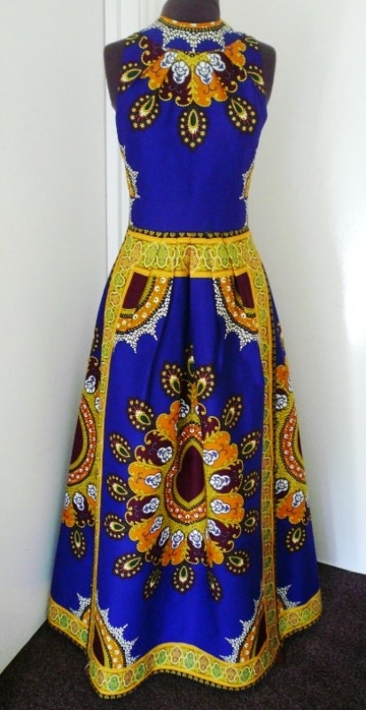 Cobalt and Gold Multi Ankara Maxi Dress Ladies Long Dress African Wax Dress  Made to Order