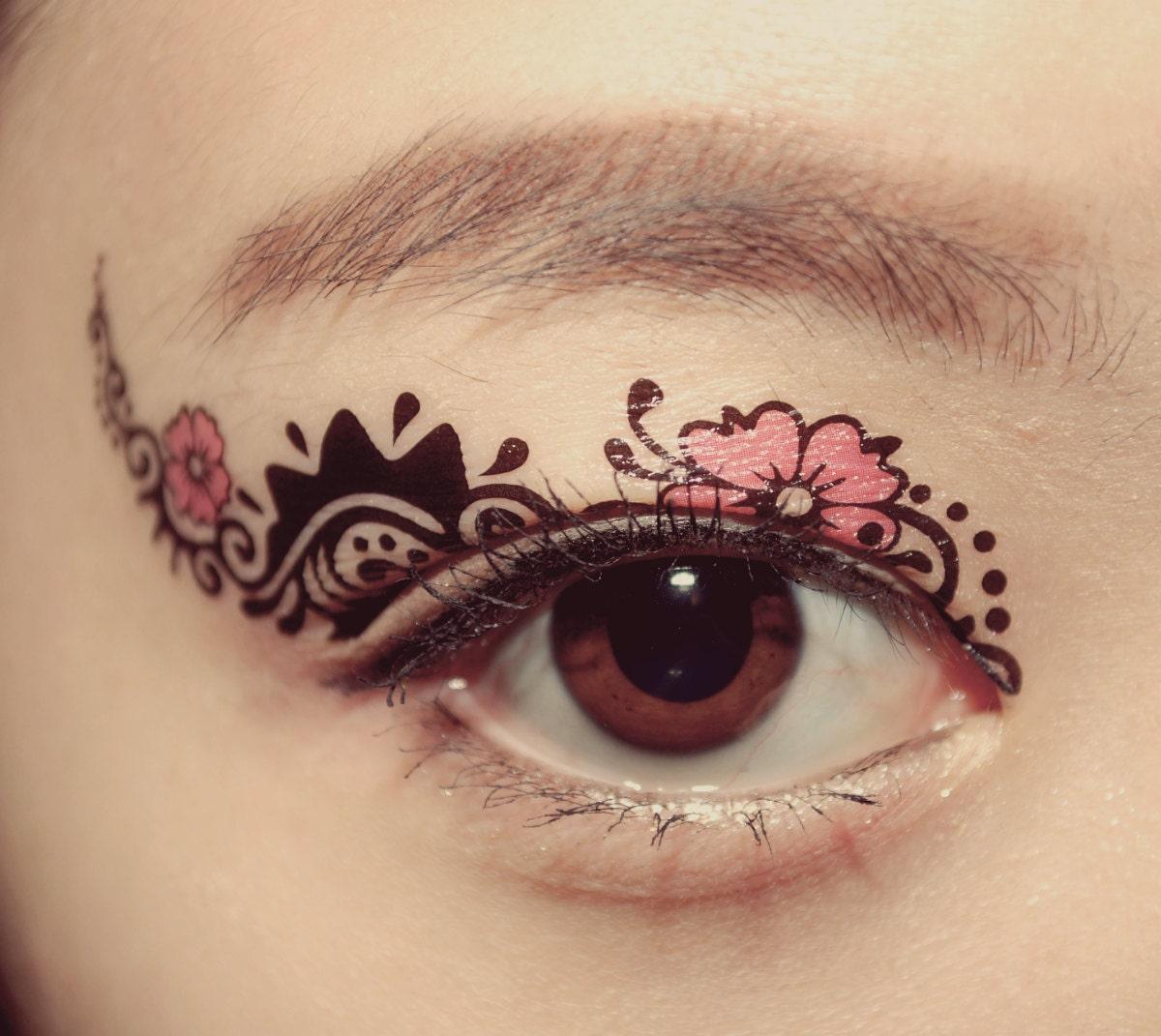 1 pair eye fake temporary tattoo holiday makeup eyeshadow for Eye temporary tattoo makeup
