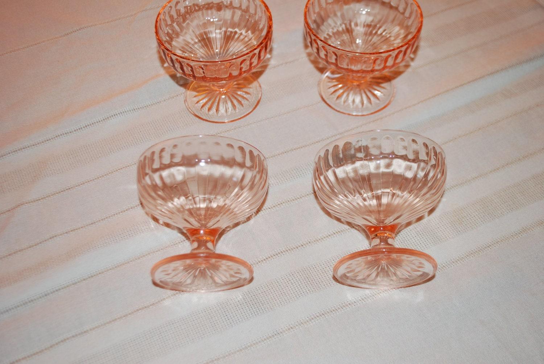 vintage pink depression glass desert dishes by