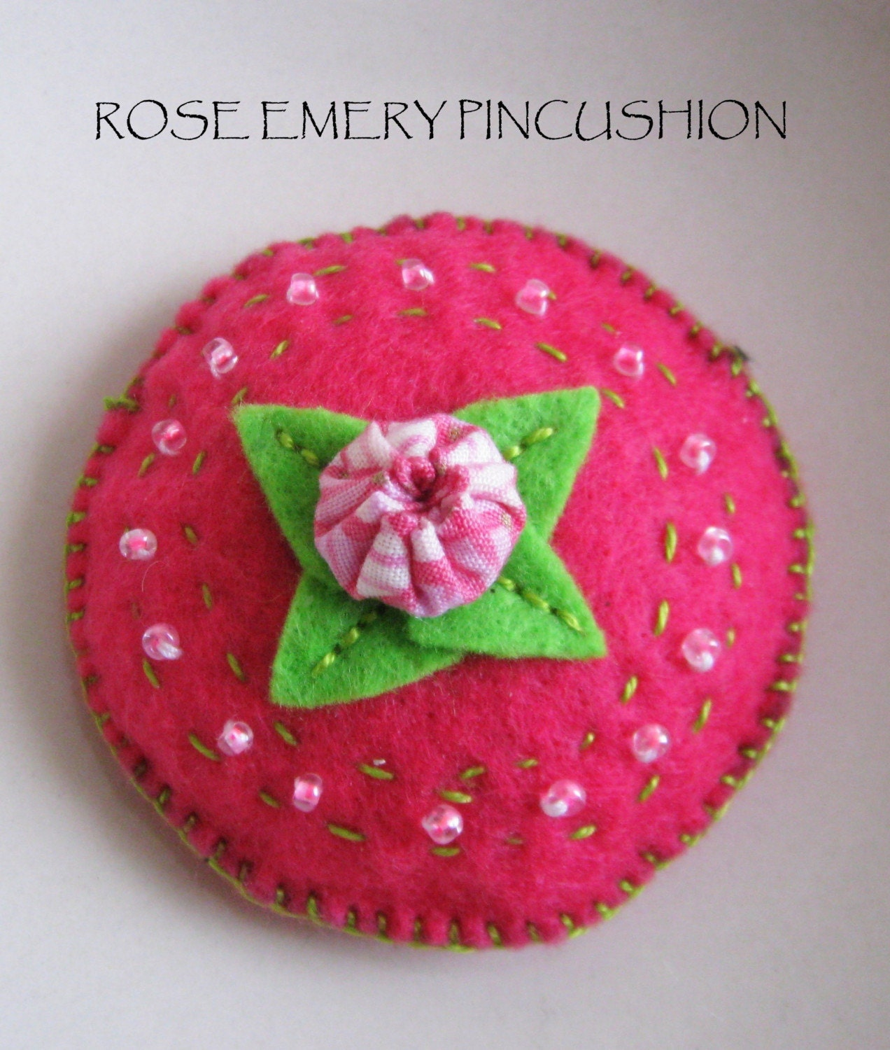 Rose Emery Pincushion     Keep Your Needles Clean and Sharp WEEKEND DEALS 7/24-7/26/2009  BUY 2 Emery Pincushion and get 1 Evil Eye Pincushion Free by NAKPUNAR on Etsy from etsy.com
