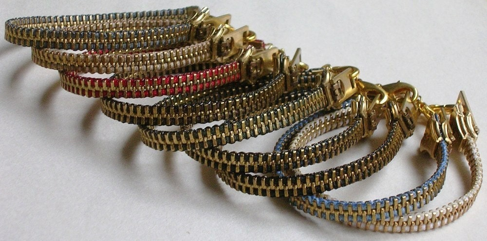 CUSTOM Brass Zipper Bracelet