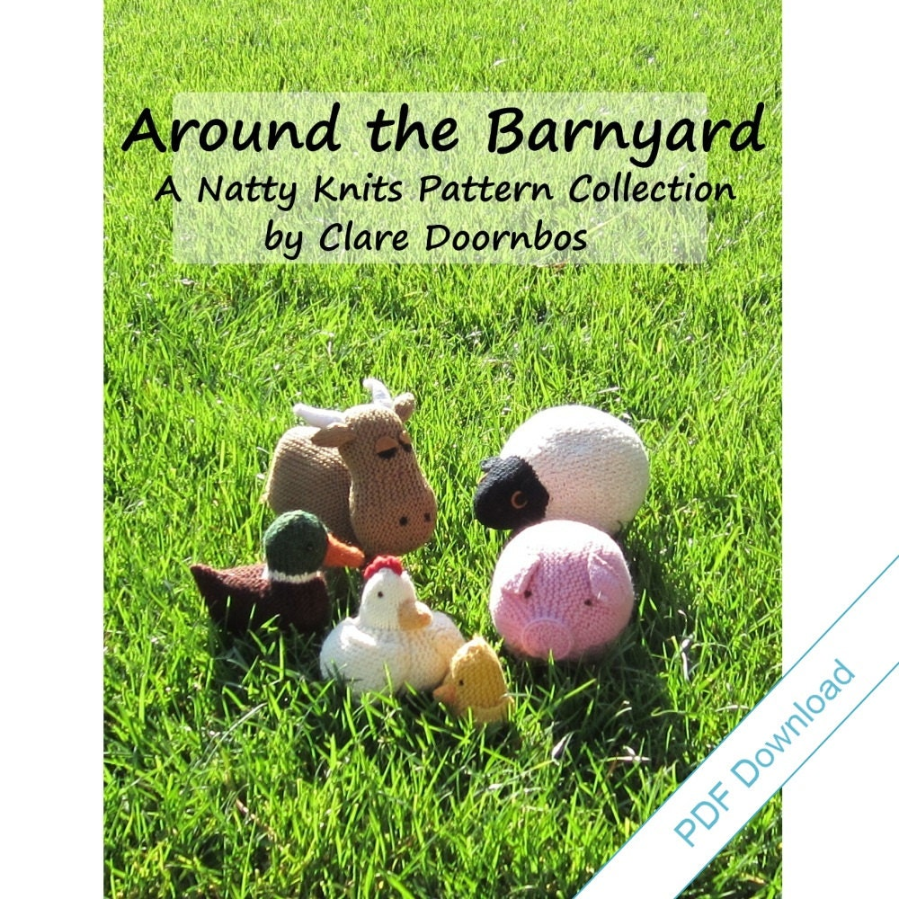 Knitting Patterns eBook. Farm Animal Toys. Around by NattyKnits
