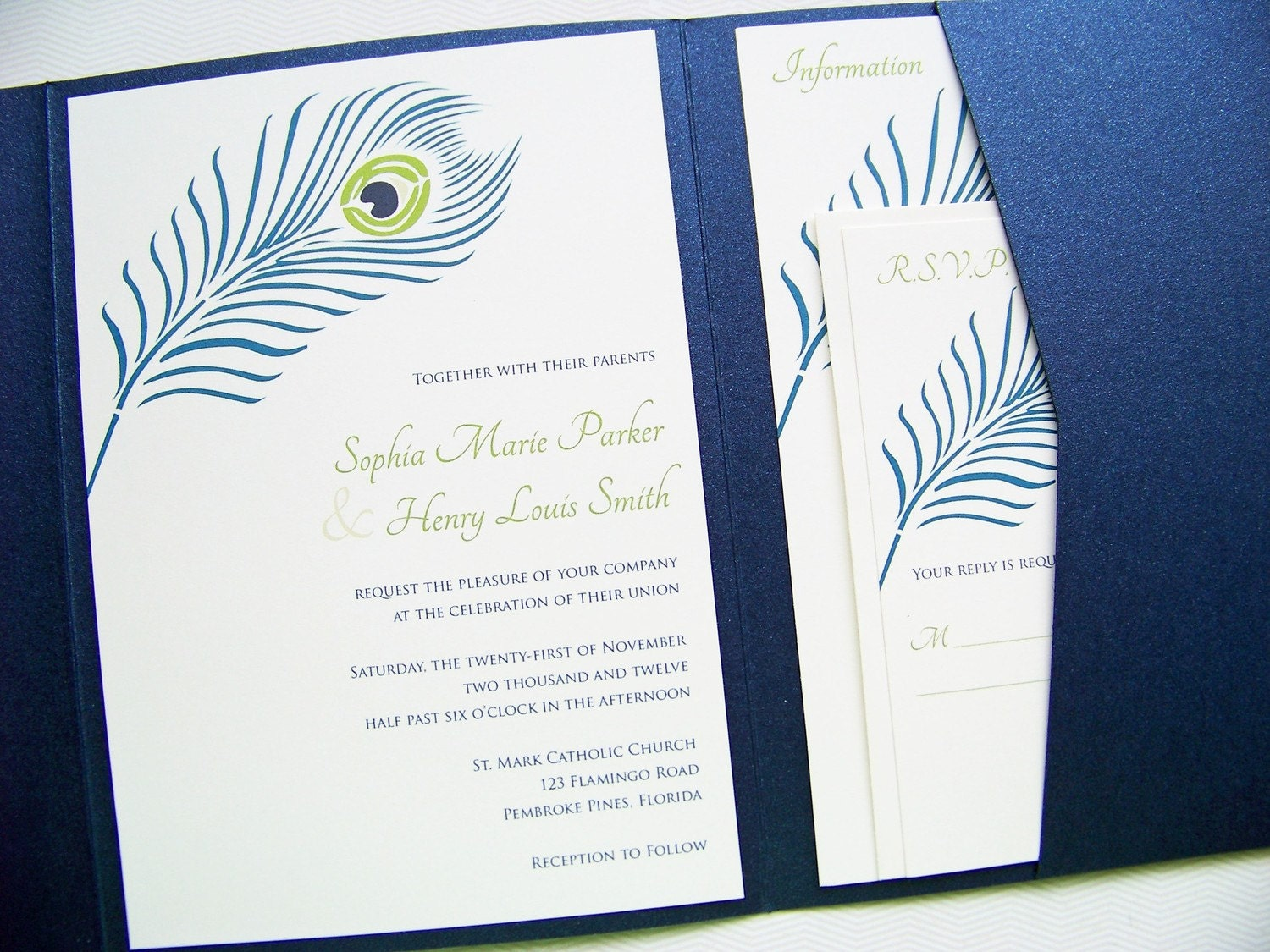 Peacock Feather Wedding Pocket Fold Invitation Suite
