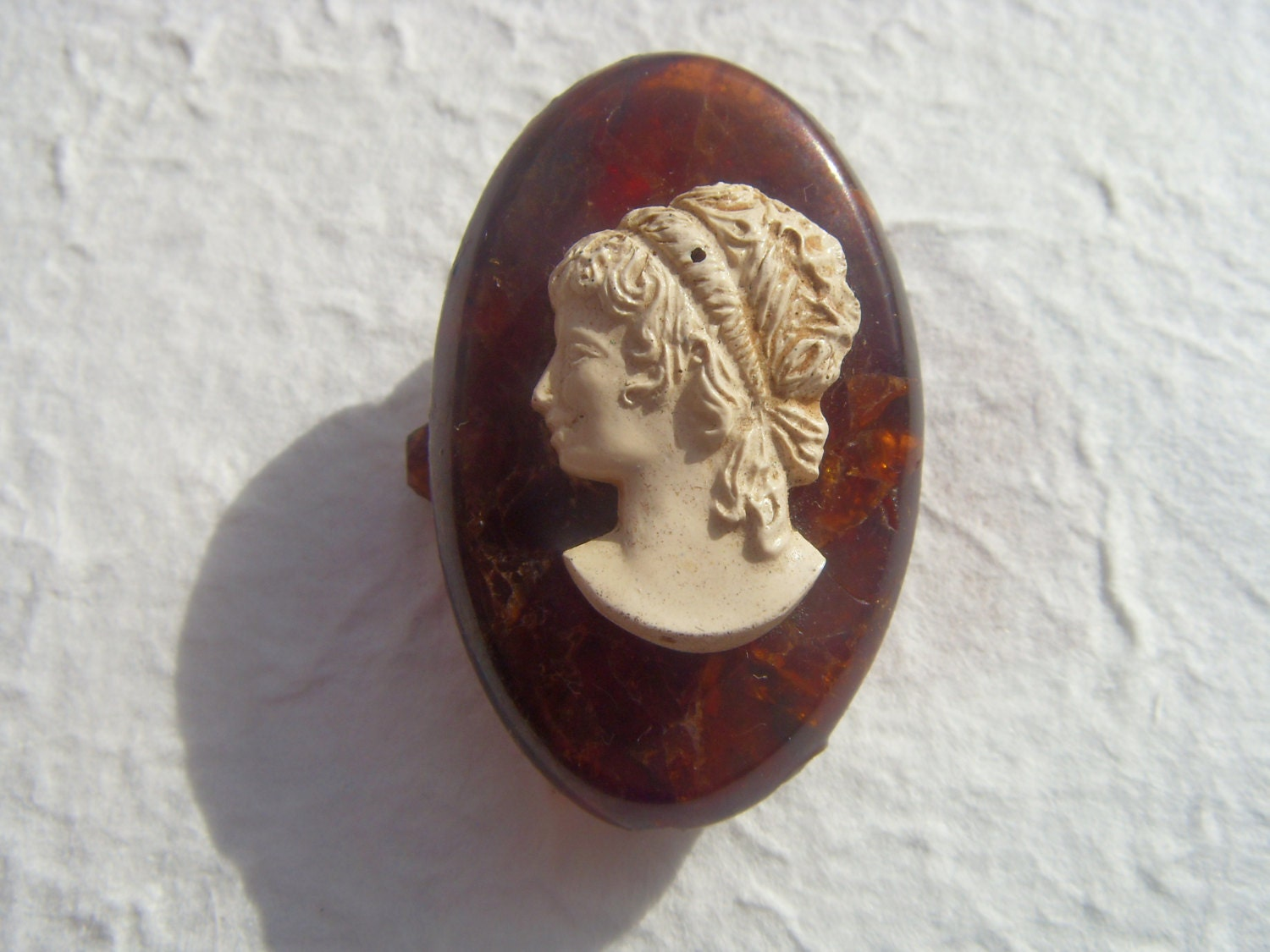 SALE 25% OFF Vintage Soviet Cameo Amber Brooch Made in USSR in 1970s - Astra9