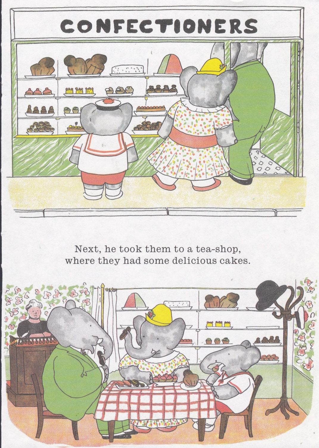 Babar the Elephant, Celleste Arthur at Cake Shop. Vintage Print Ready for Matting and Framing. Ideal for Nursery Decor. Jean de Brunhoff