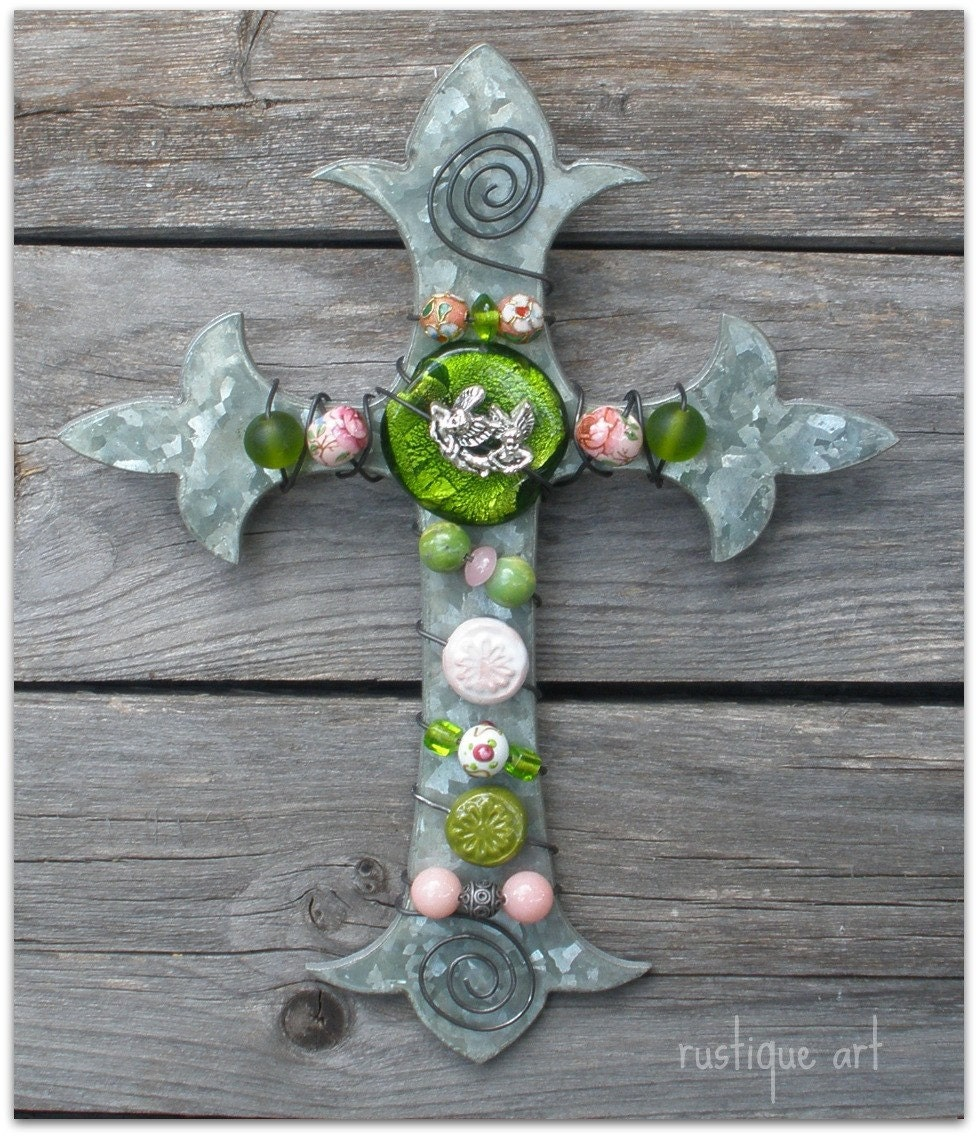 Fleur de lis Galvanized Cross - Urban Shabby