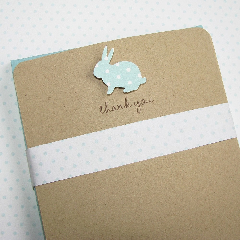 recycled baby thank you notes - pool poka dot bunny on recycled kraft stock with matching envelope