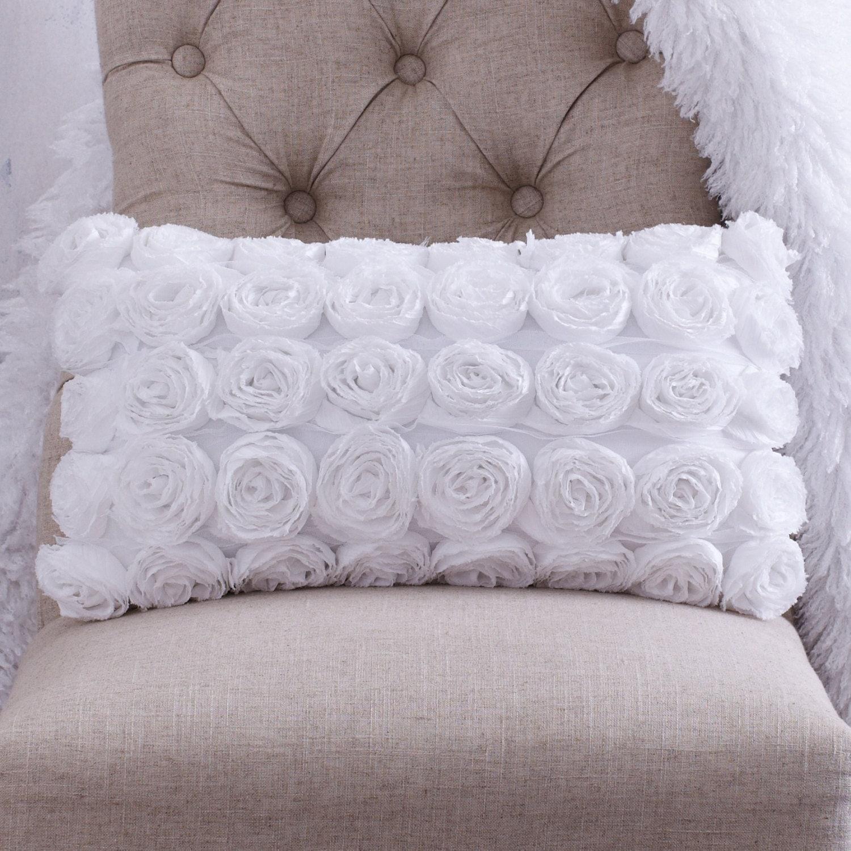 WHITE ROSETTE PILLOW   .   Beautiful ... Soft ... Unique - CLOUDHUNTERCO