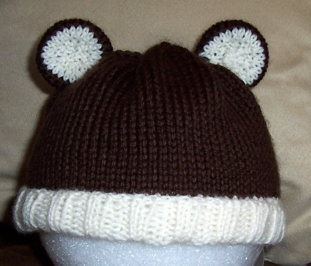 Knitting Pattern Baby Hat With Ears : Items similar to PATTERN - Knit Baby Hat with Ears on Etsy