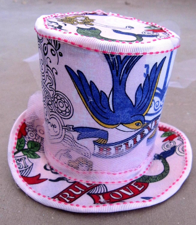 Vintage Hat Tattoos: Vintage Tattoo Mermaid Mini Top Hat By KylasKeepsakes On Etsy