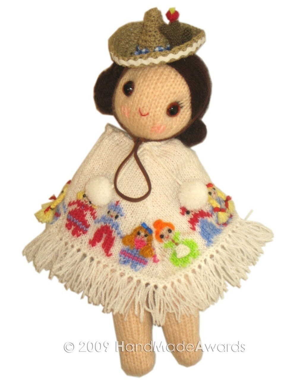 MEXICAN GIRLY DOLL with cute PONCHO and HAT  PDF Email KNIT PATTERN