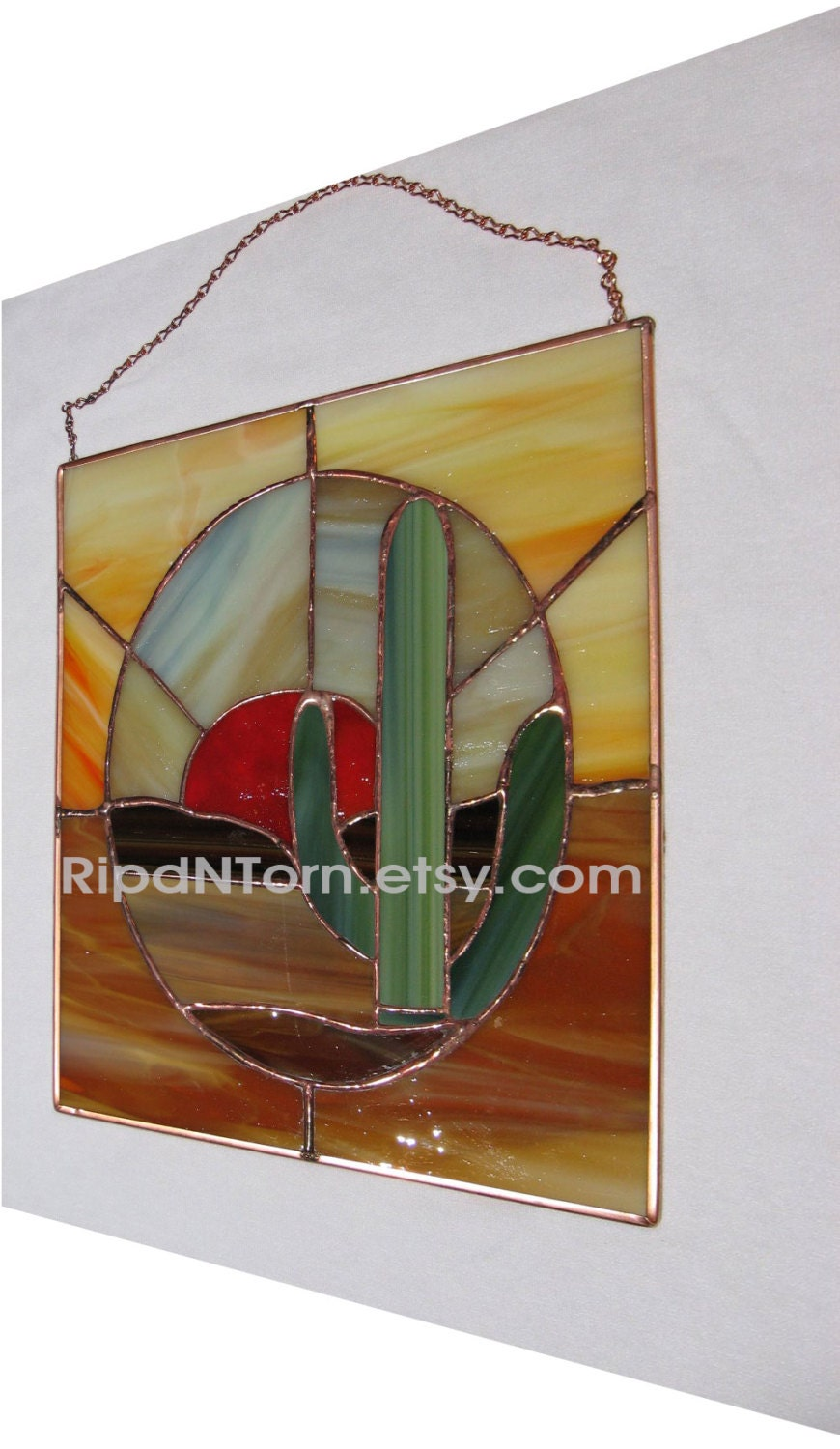Items similar to Cactus Western Desert Stained Glass ...