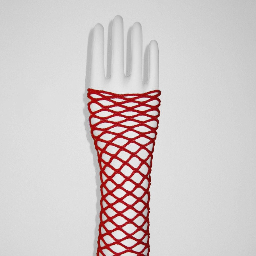 Red Net Fingerless Gloves