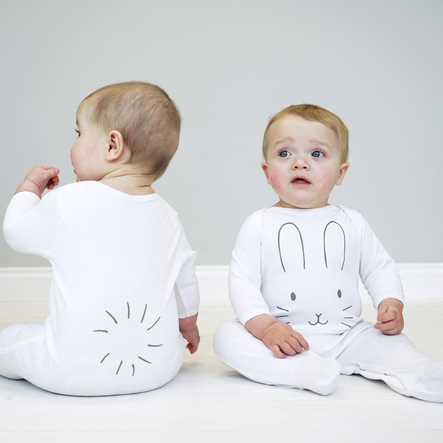 Bunny Face Sleepsuit  Bunny Face Romper  Bunny Face and Tail sleepsuit