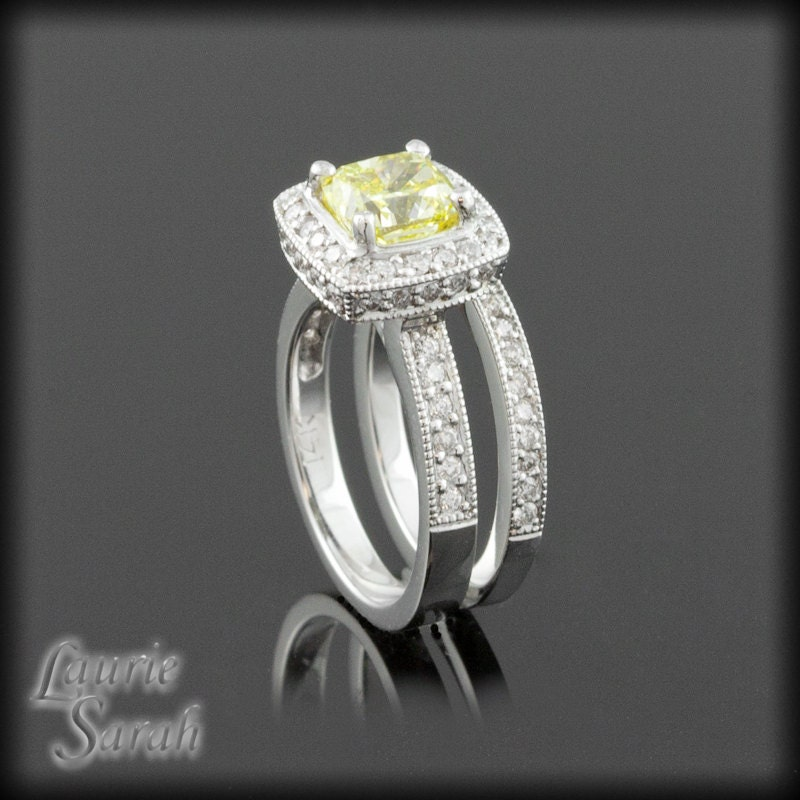 cushion cut canary diamond engagement ring by. Black Bedroom Furniture Sets. Home Design Ideas