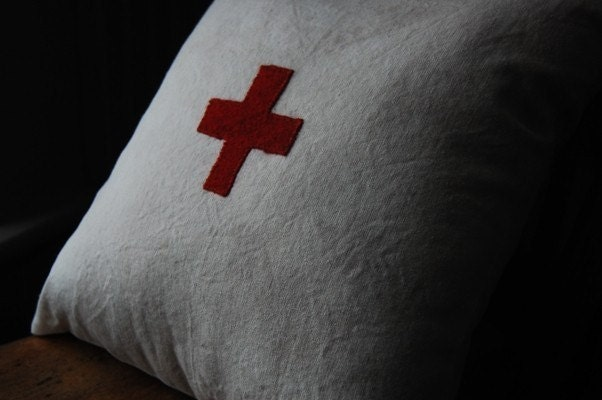 red cross pillow with hemp and kapok