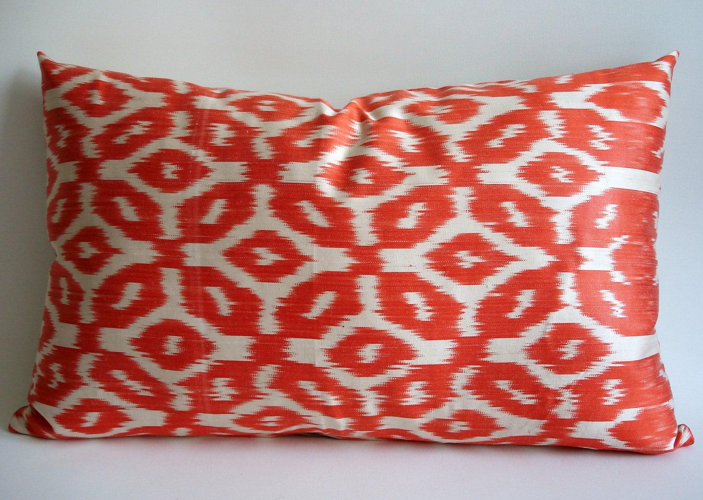 Sukan / Hand Woven Original Silk ikat Pillow Cover - Orange, Ivory Color