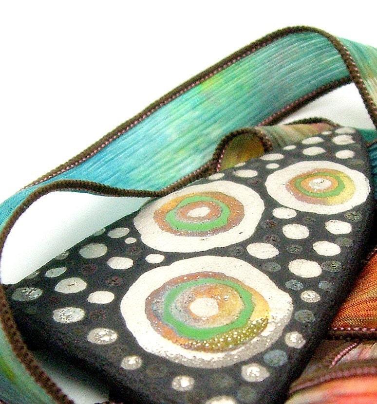 Retro Peacock Raku Fired Ceramic Cabochon Tile Raku Jewelry Supplies Handmade by MAKUstudio