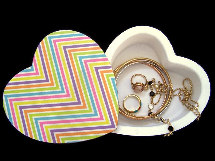 Heart Jewellery Box with Swivel Lid  Decoupage Jewellery Box  MultiColoured Chevron Trinket Box