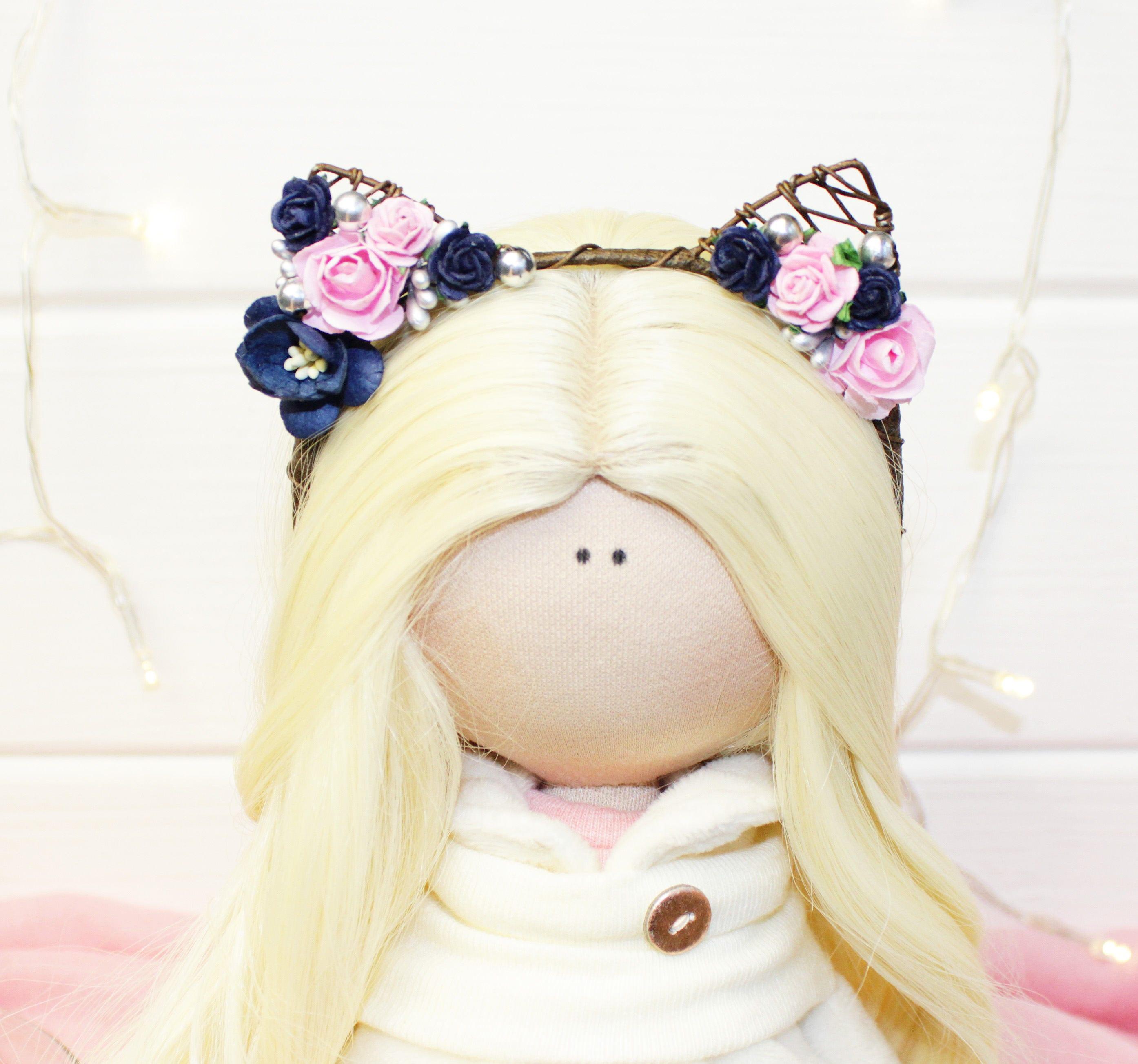 Как сделать кукле ободок с ушками 480