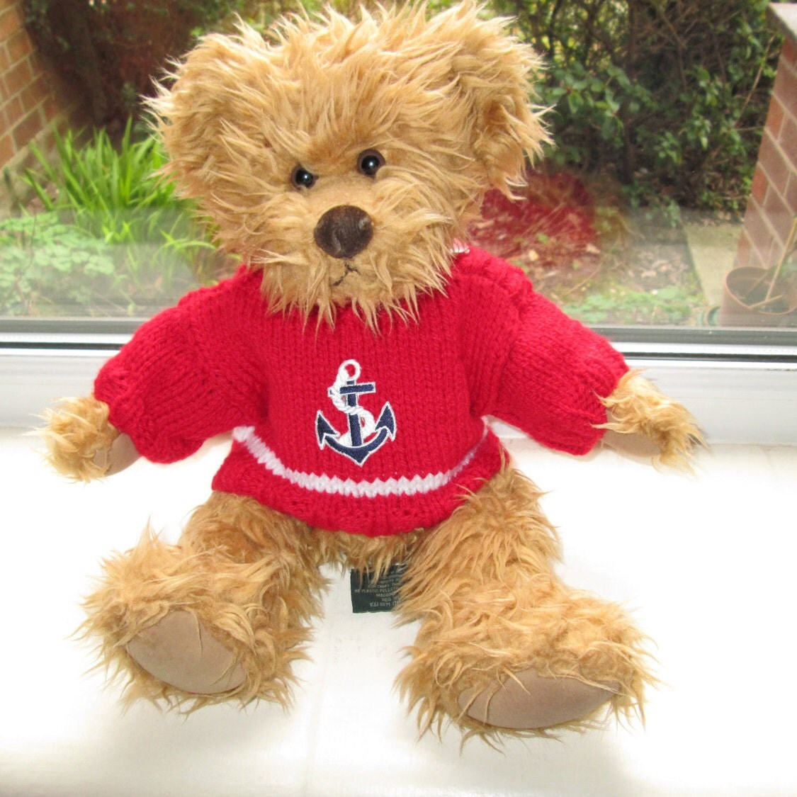 Teddy Bear Clothes Hand Knitted Red Sailor Nautical Anchor Motif SweaterJumper To Fit A 14 Inch Bear Clothes For Toys Ready To ShipPost
