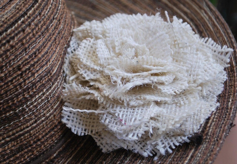 Neutral Burlap Flower Fashion Pin