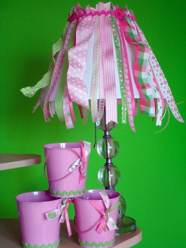 Etsy :: cottagedoor :: Pink Dots and Checks Ribbon Shade from etsy.com