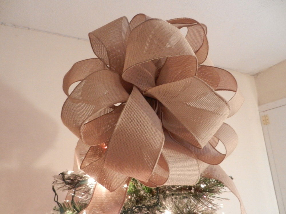 Large natural burlap ribbon christmas tree by creativelycarole for Burlap ribbon on tree