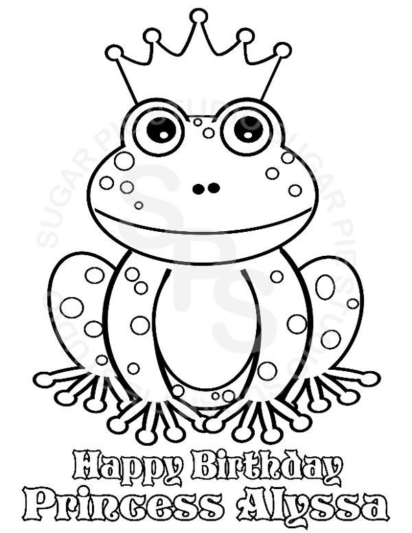custom coloring pages from photos - personalized printable princess frog birthday by