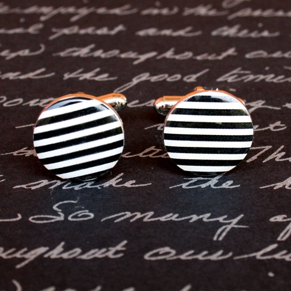 Cufflinks - Black and White Stripes