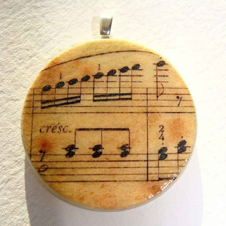 Pendant, Vintage Music Sheet, Handmade Decoupaged, FREE SHIPPING