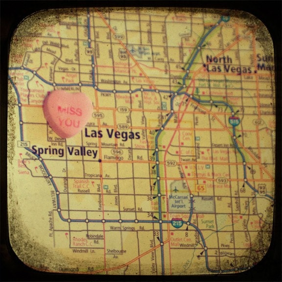 miss you vegas custom candy heart map art 8x8 ttv photo print - free shipping