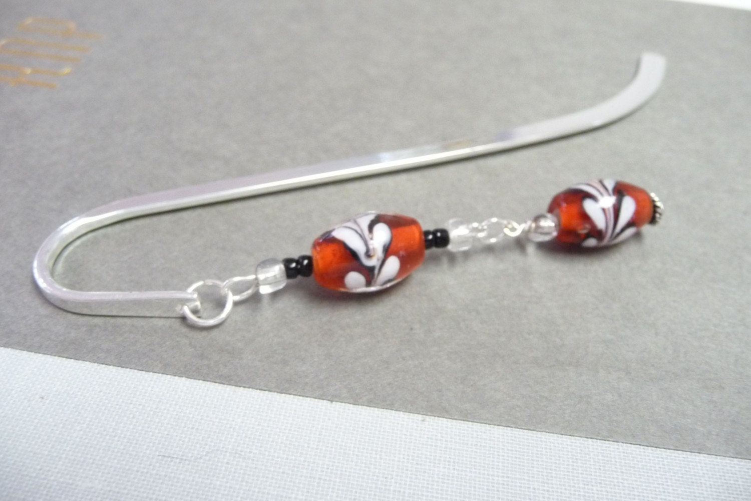 Red Floral Glass Beaded Bookmark