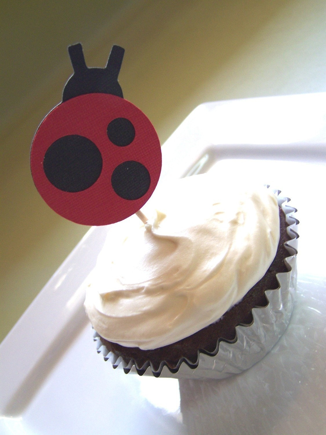 Little Lady Ladybug Cupcake Toppers, Set of 12