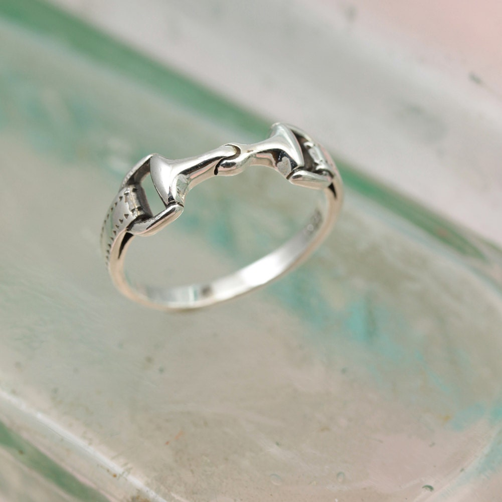 Sterling Silver Snaffle Bit Shaped Ring  Pinky Ring  Sterling silver Ring  Horse Jewelry