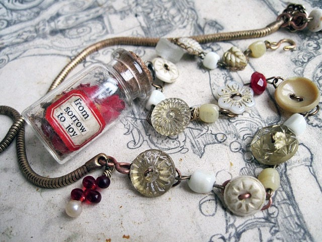 The Unknown Valentine. Found Poetry, Dried Roses and Antique Buttons.