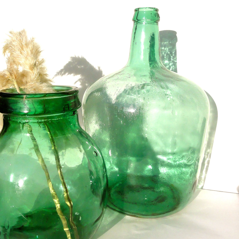 Vintage green glass wine bottle demijohn viresa by for Green glass wine bottles