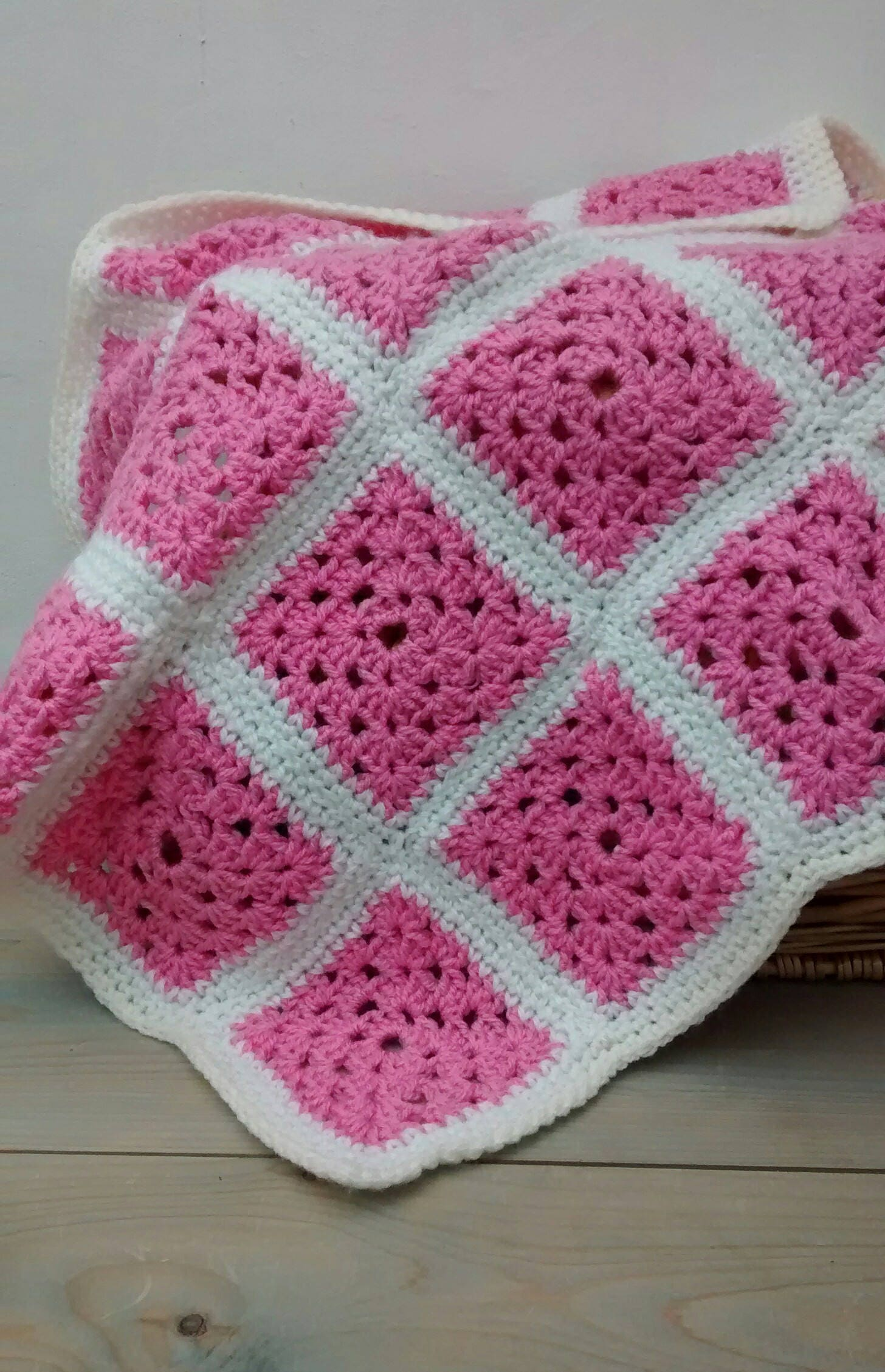 Baby Blanket  Pink Blanket  Handmade Crochet Blanket   Baby Pram Blanket   Granny Square Blanket  Baby Girl  Baby Shower Gift