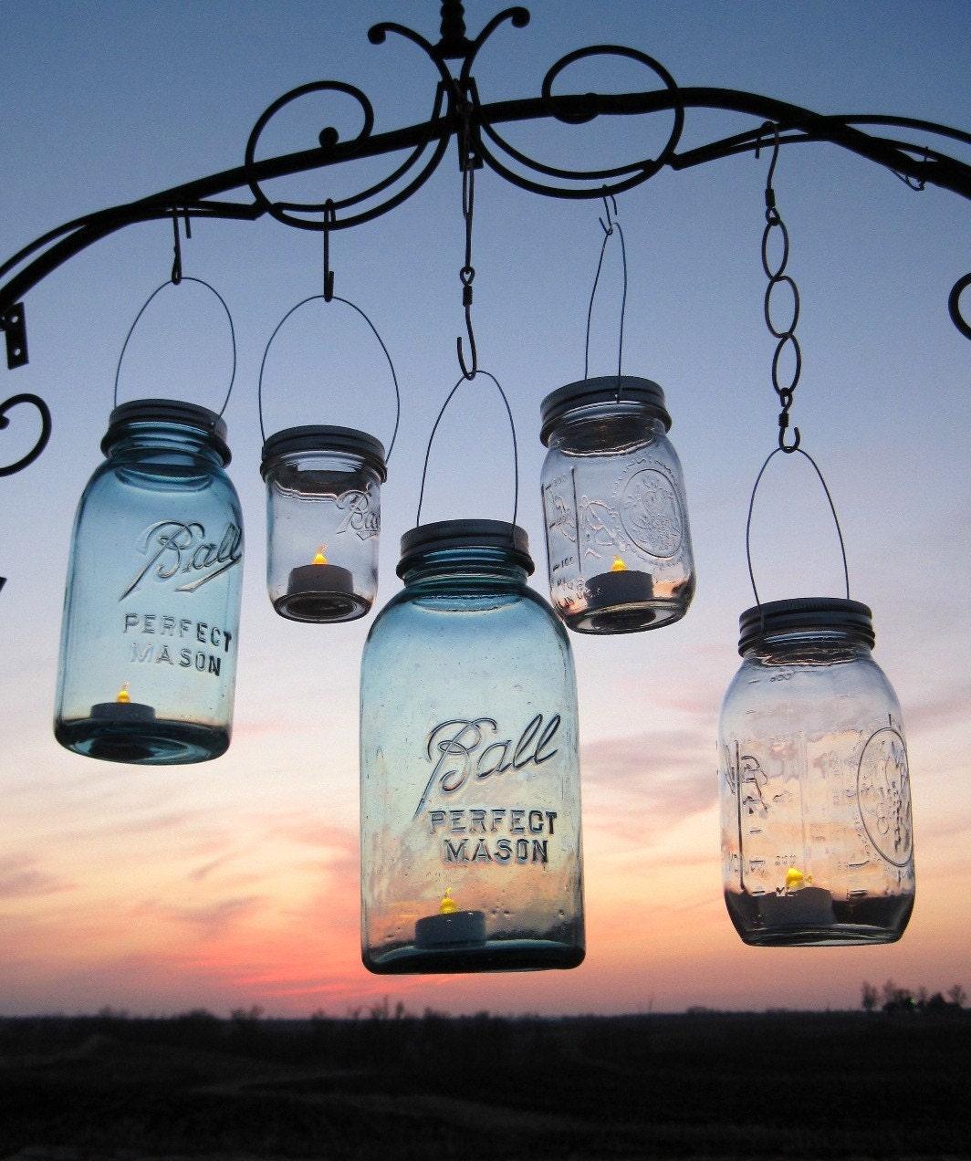 Hanging Mason Jars Lids 14 DIY Hanging Lantern Lids, Reserved Order, Handmade Candle Holders, Upcycled Recycled Ball Jars, Handmade Weddings, Spring Summer Gardens, by TreasureAgain