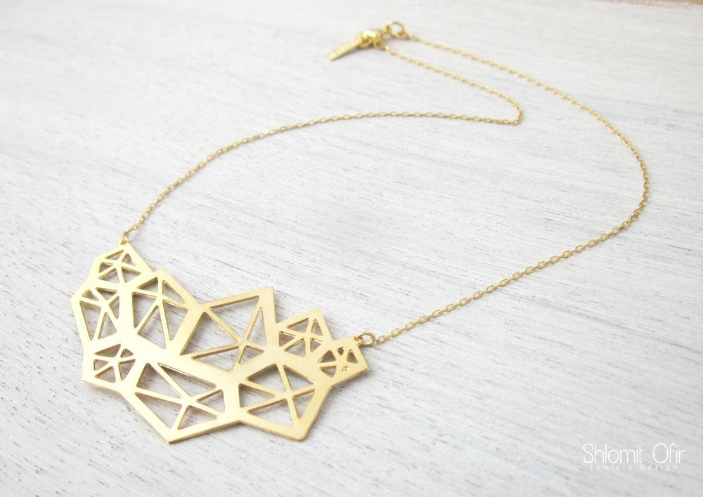 Large Pentagon Necklace in Gold